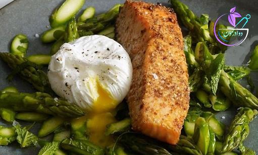 روش پخت ماهی سالمون با تخم مرغ و مارچوبه